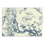 Tarjeta floral azul de la invitación de la fuga