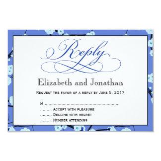 Tarjeta floral azul de RSVP de la contestación del Invitación 8,9 X 12,7 Cm