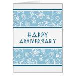 Tarjeta floral azul del aniversario del empleado