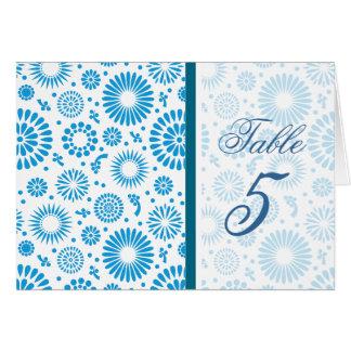 Tarjeta floral azul del número de la tabla del vin