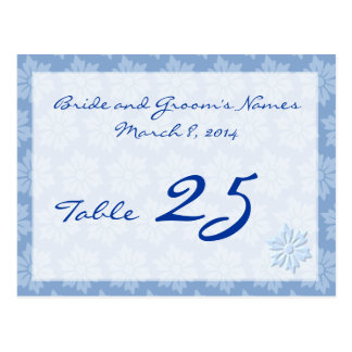 Tarjeta floral azul del número de la tabla postal