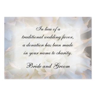 Tarjeta floral blanca de la caridad del boda tarjeta de negocio