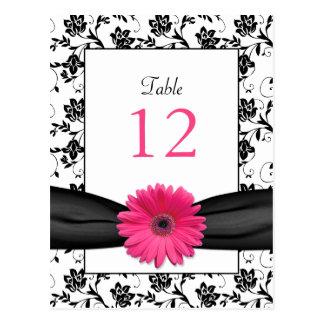 Tarjeta floral blanca de la tabla del boda del neg postales