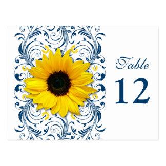 Tarjeta floral blanca del número de la tabla de tarjetas postales