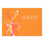 Tarjeta floral blanca rosada anaranjada de RSVP Invitacion Personalizada