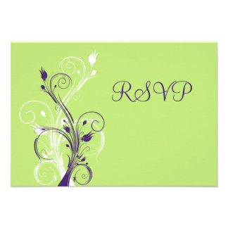 Tarjeta floral blanca verde púrpura de RSVP Anuncios Personalizados