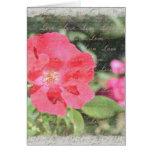 Tarjeta floral color de rosa pintada del jardín