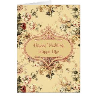 Tarjeta floral de Congrats de los rosas del vintag