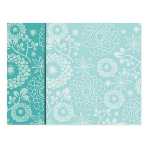 Tarjeta floral de la aguamarina elegante adaptable postal
