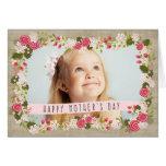 Tarjeta floral de la arpillera de madre de la foto tarjeta de felicitación