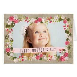 Tarjeta floral de la arpillera de madre de la foto