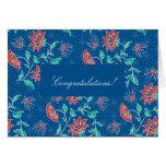 Tarjeta floral de la enhorabuena del batik de Aiya