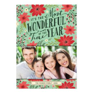 Tarjeta floral de la foto del día de fiesta comunicados personalizados