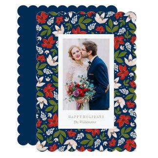 """Tarjeta floral de la foto del día de fiesta invitación 5"""" x 7"""""""