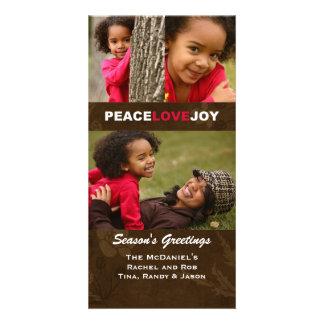 Tarjeta floral de la foto del navidad de Brown Tarjetas Con Fotos Personalizadas