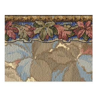 Tarjeta floral de la frontera de 1920 papeles postal