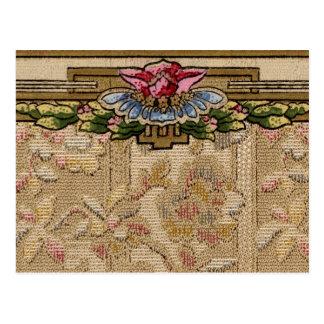 Tarjeta floral de la frontera del papel pintado postal