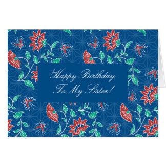 Tarjeta floral de la hermana del feliz cumpleaños