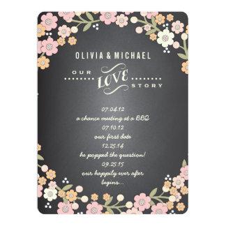 """Tarjeta floral de la historia del boda de la invitación 6.5"""" x 8.75"""""""