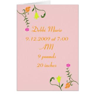 Tarjeta floral de la invitación del nacimiento