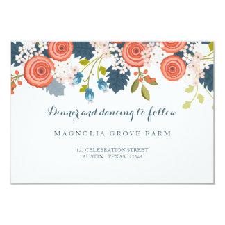 Tarjeta floral de la recepción nupcial del jardín invitación 8,9 x 12,7 cm