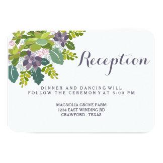Tarjeta floral de la recepción nupcial del ramo II Invitación 8,9 X 12,7 Cm