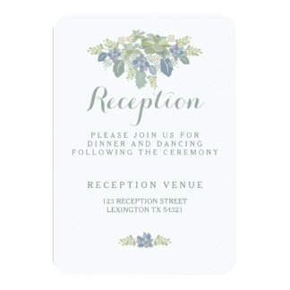 Tarjeta floral de la recepción nupcial del ramo invitación 8,9 x 12,7 cm