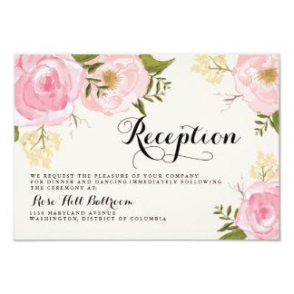 Tarjeta floral de la recepción nupcial del rosa invitación 8,9 x 12,7 cm