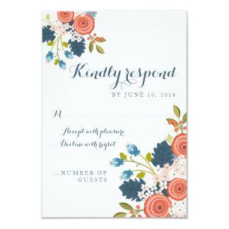 Tarjeta floral de la respuesta de RSVP del jardín Invitación 8,9 X 12,7 Cm