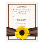 Tarjeta floral de la respuesta del boda del damasc