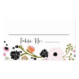 Tarjeta floral de la tabla del boda del ramo tarjetas de visita