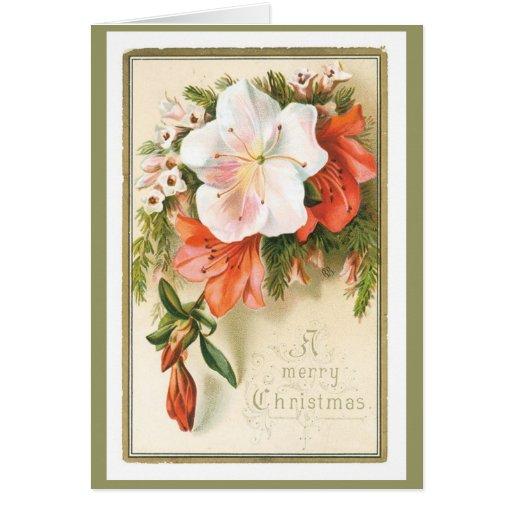 Tarjeta floral de las Felices Navidad