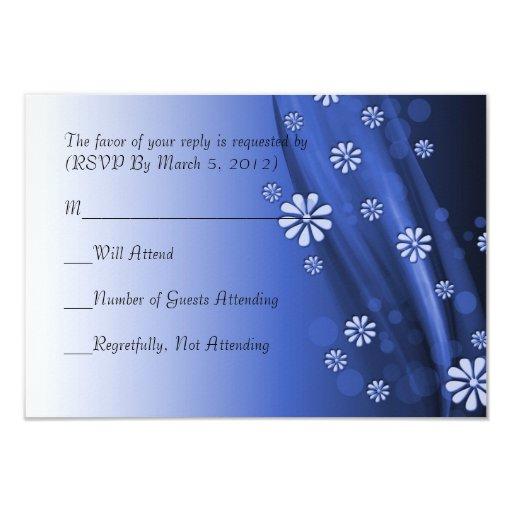 Tarjeta floral de lujo azul de RSVP de la onda Invitación 8,9 X 12,7 Cm