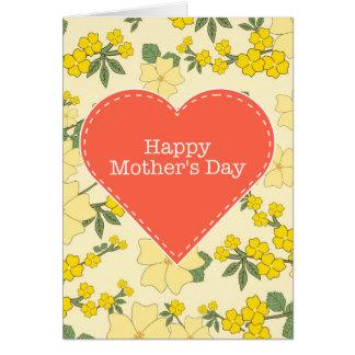 Tarjeta floral de madre del día del vintage feliz