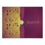 Tarjeta floral de RSVP de la berenjena de oro Anuncios Personalizados