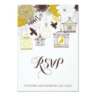 Tarjeta floral de RSVP de los Birdcages amarillos Invitación 8,9 X 12,7 Cm