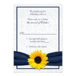 Tarjeta floral de RSVP del damasco de la marina de