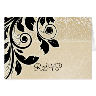 Tarjeta floral de RSVP del damasco del oro románti