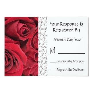 "Tarjeta floral de RSVP del rosa rojo Invitación 3.5"" X 5"""