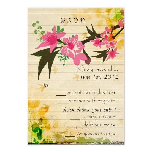 Tarjeta floral de RSVP del vintage Invitacion Personal