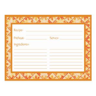 Tarjeta floral decorativa de la receta de las teja tarjeta postal