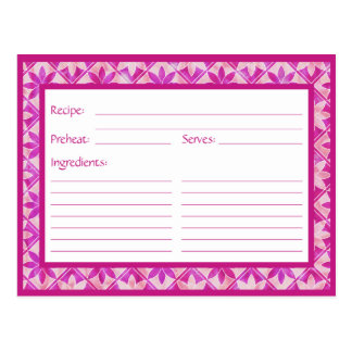 Tarjeta floral decorativa púrpura de la receta de  tarjeta postal