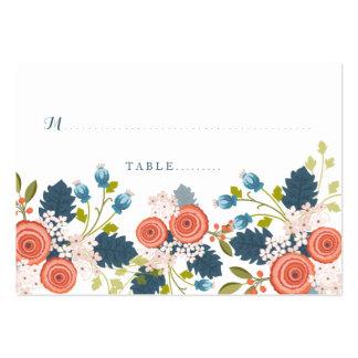 Tarjeta floral del asiento del boda del jardín tarjetas de visita grandes