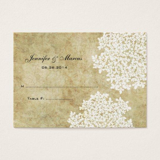 Tarjeta floral del asiento del vintage blanco tarjetas de visita grandes