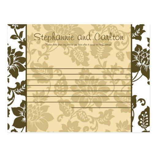Tarjeta floral del consejo del boda del damasco de tarjetas postales