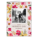Tarjeta floral del día de madre de la acuarela tarjeta de felicitación
