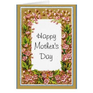 Tarjeta floral del día de madres del vintage