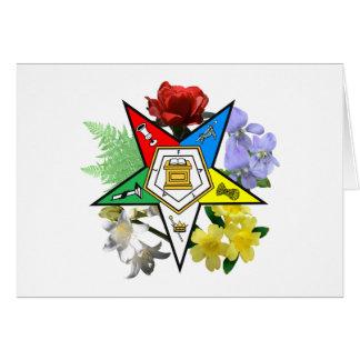 Tarjeta floral del emblema de OES