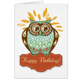 Tarjeta floral del feliz cumpleaños del búho color
