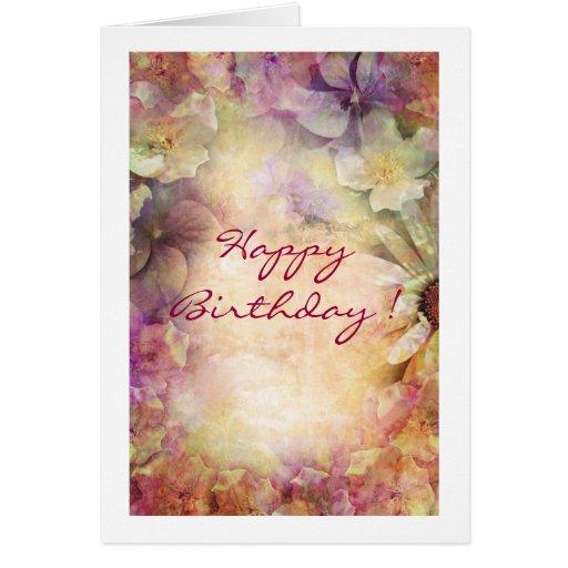 Tarjeta floral del feliz cumpleaños del Grunge